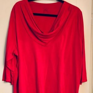 True red cowl neck top